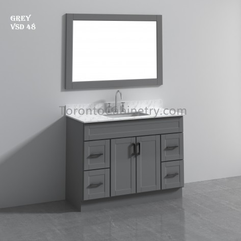 "48"" Single Shaker Gray Solid Wood Bathroom Vanity"
