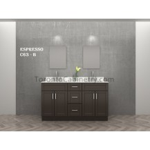 "63"" Double Shaker Espresso Solid Wood Bathroom Vanity"