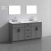 "63"" Double Shaker Gray Solid Wood Bathroom Vanity"