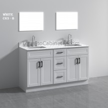 "63"" Double Shaker White Solid Wood Bathroom Vanity"